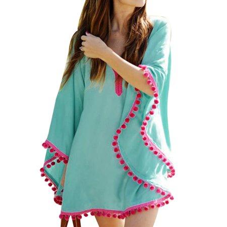 b1e1592ccc Elenxs - Women Tassel Trim Bikini Cover up Sunscreen Sexy Pareo Sarong Girl  Chiffon Long Sleeve Swimwear Beach Dress - Walmart.com