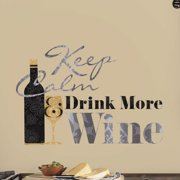 Wallhogs Keep Calm Drink More Wine Quote Wall Decal
