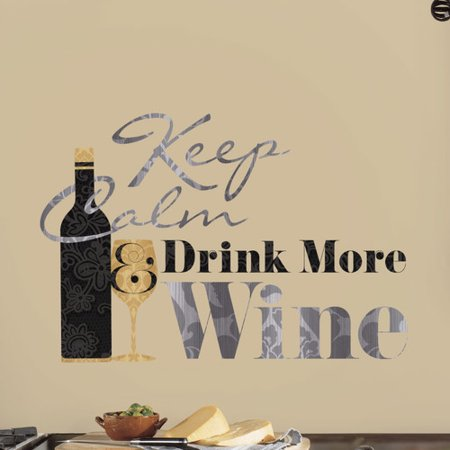 Wallhogs Keep Calm Drink More Wine Quote Wall Decal (Wine Halloween Quotes)