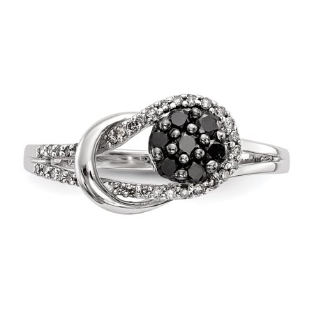925 Sterling Silver Rhod Plated Black White Diamond Love Knot Band Ring Size 7.00 S/love Fine Jewelry Gifts For Women For Her - image 3 de 10