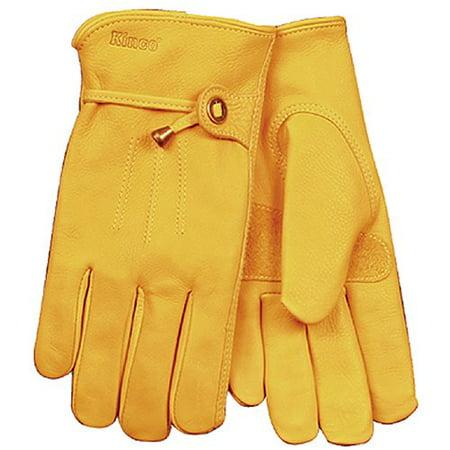 KINCO 199-L Men's Unlined Premium Grain Cowhide Gloves, Large, Golden Shirred Unlined Gloves