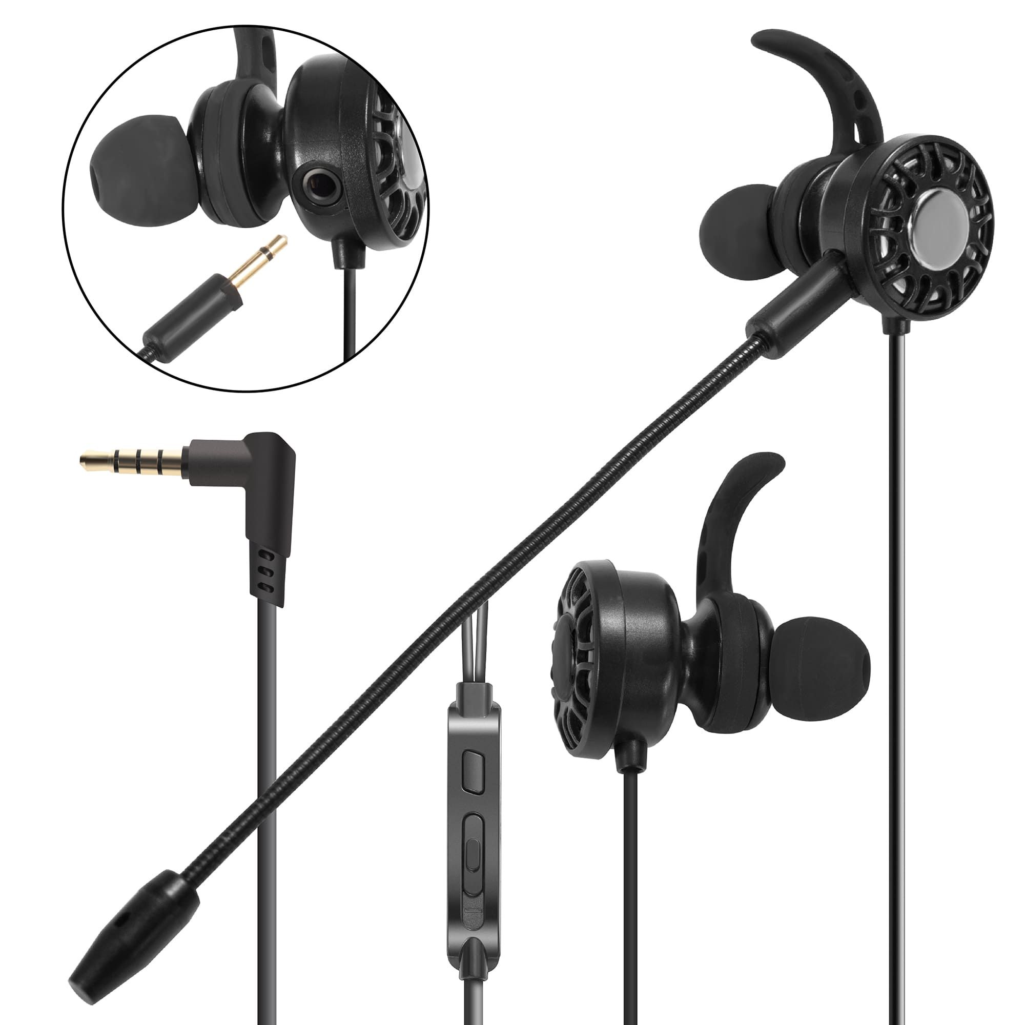 3 5mm Gaming Earbuds With Mic Insten In Ear Headset Stereo Headphone With Dual Microphone Detachable And Built In For Ps4 Nintendo Switch Lite Pc Mobile Game Cell Phone Smartphone Black Walmart Com