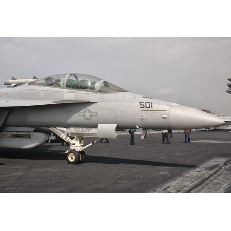 An Ea 18G Growler Is Ready For A Mission Aboard Uss George Hw Bush Canvas Art   Giovanni Collastocktrek Images  17 X 12