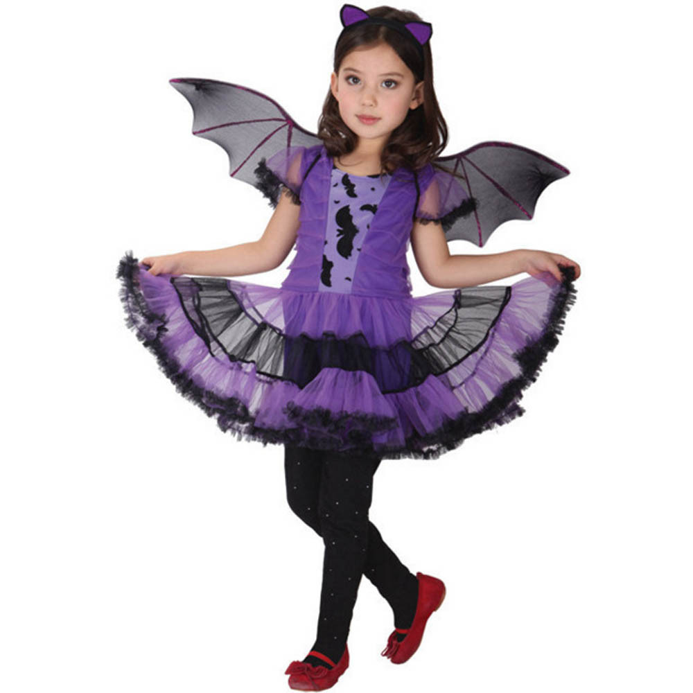 Womail Toddler Kids Baby Girl Halloween Clothes Costume Dress+Hair Hoop+Bat Wing Outfit