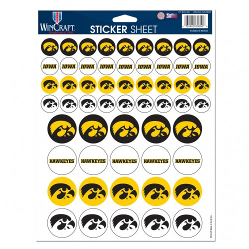 Iowa Hawkeyes Official NCAA 8.5 inch x 11 inch  Sticker Sheet by WinCraft