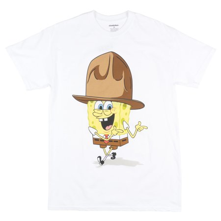 Nickelodeon Spongebob Squarepants T-Shirt Cartoon TV Show Mens White (Spongebob Shirts For Adults)