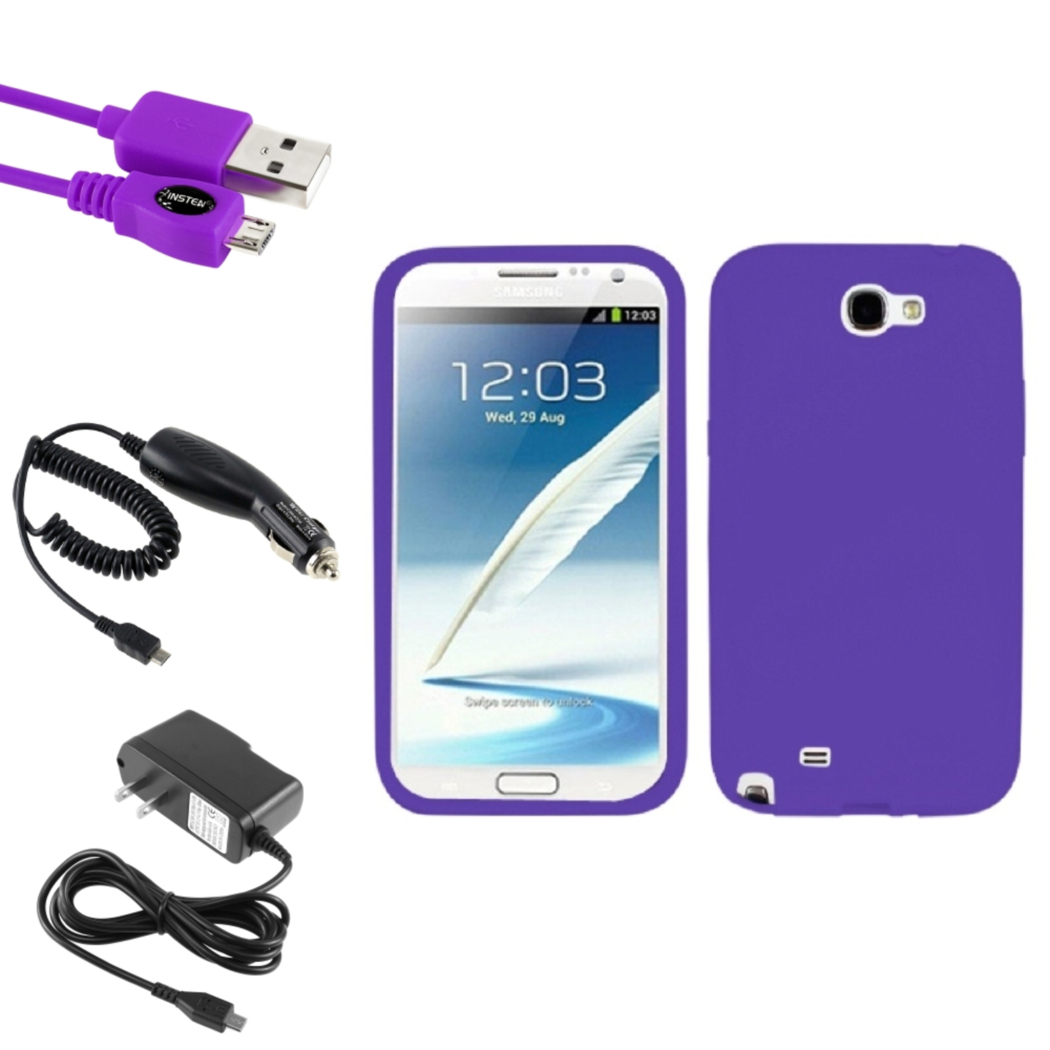 Insten Electric Purple Skin Case+Car+Wall Charger+3X USB Cable For Samsung Galaxy Note 2