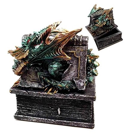 ANCIENT TRAPPED GREEN DRAGON TREASURE RESIN JEWELRY BOX KEEPSAKE ()