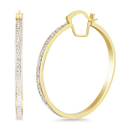Womens White Sparkling Round Hoop Earrings made with Swarovski (Swarovski Crystal Butterfly Necklace Earrings)
