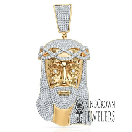Mens Big XL 4.25'' Real Yellow Gold Sterling Silver Jesus Piece Holy Face Lab Diamond Custom Pendant Charm