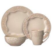 Pfaltzgraff Clarissa Cream 16 Piece Stoneware Dinnerware Set