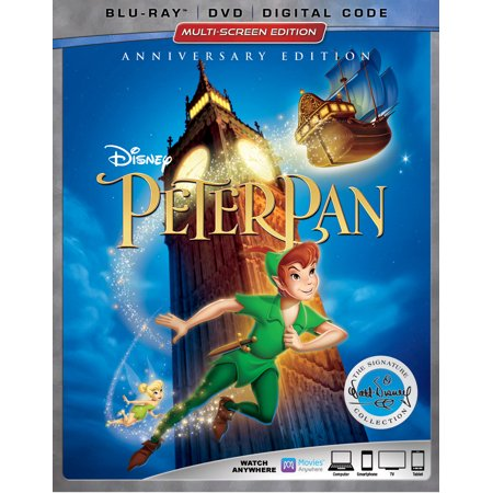 Peter Pan (Anniversary Edition) (Blu-ray + DVD + Digital Code) (Halloween Movies Coupon Code)