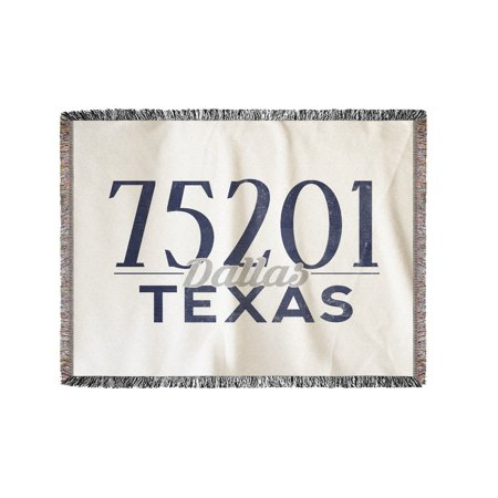 Dallas, Texas - 75201 Zip Code (Blue) - Lantern Press Artwork (60x80 Woven Chenille Yarn Blanket)