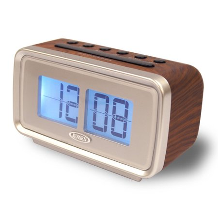 jensen am fm dual alarm clock with digital retro 39 39 flip 39 39 dis. Black Bedroom Furniture Sets. Home Design Ideas