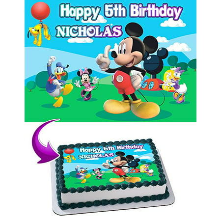 Mickey Mouse Clubhouse Birthday Cake Personalized Cake Toppers Edible Frosting Photo Icing Sugar Paper A4 Sheet 1/4 Edible Image for cake](Micky Mouse Cake)