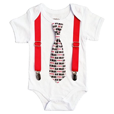 Noah's Boytique Valentines Day Baby Boy Outfit with Heart Breaker Tie and Red Suspenders 12-18 Months - Toddler Boy Valentine Outfit