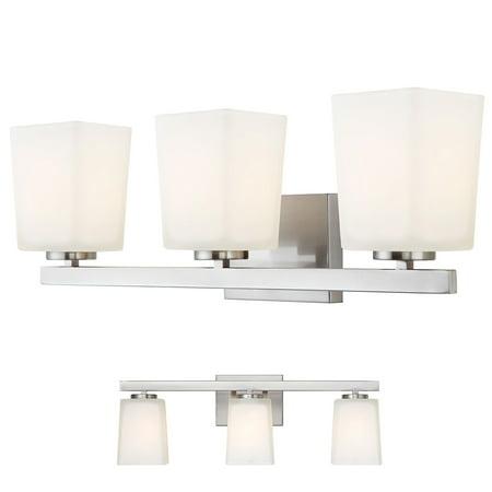 Brushed Nickel Vanity 3 Light Fixture Bathroom Bath Bar Flat Opal Glass Globes