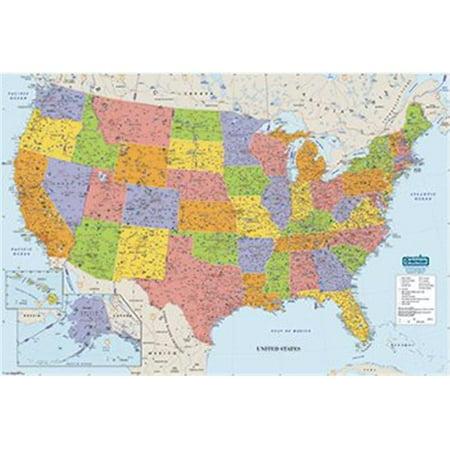 HOUSE OF DOOLITTLE HOD720 US & WORLD MAPS LAMINATED US 50X33 ...