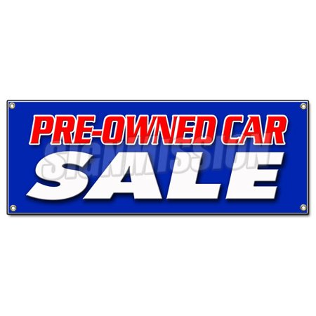 Pre Owned Car Sale Banner Sign Used Auto Automobile Buy Here We Finance Low Mile