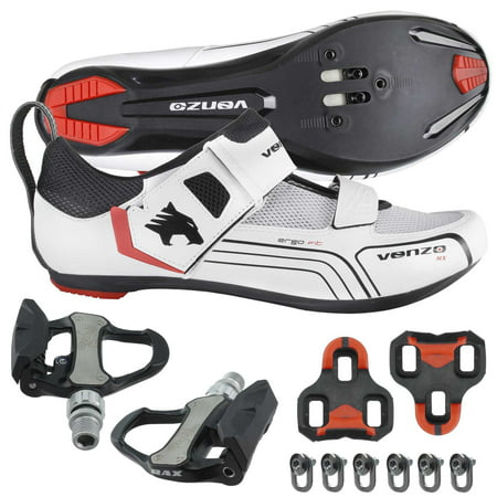 Venzo Cycling Bicycle Bike Triathlon Shoes with Pedals For Shimano SPD SL Look White (Triathlon Neoprenanzüge)