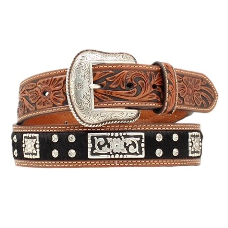 Nocona Western Belt Mens Leather Hair Rhinestones Black Brown (Nocona Rhinestone Belt)
