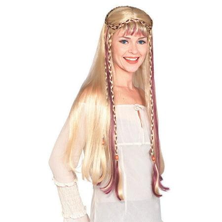 Blonde Medieval Maiden Princess Wig Celtic Long Braid Women Costume Accessory - image 1 de 1