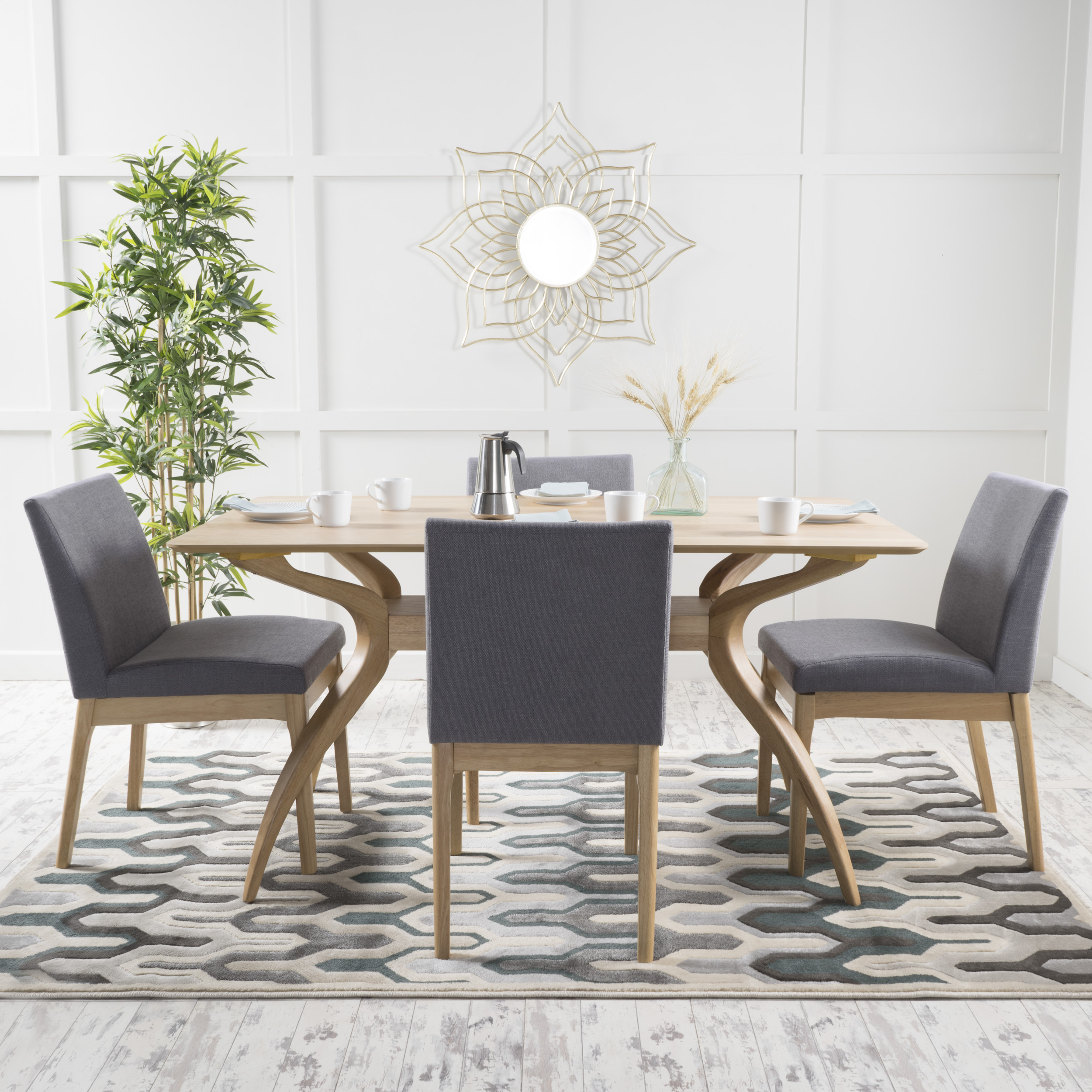 Mid Century Modern Dining Set: Noble House Caruso Mid-Century Modern Wood 5 Piece Dining