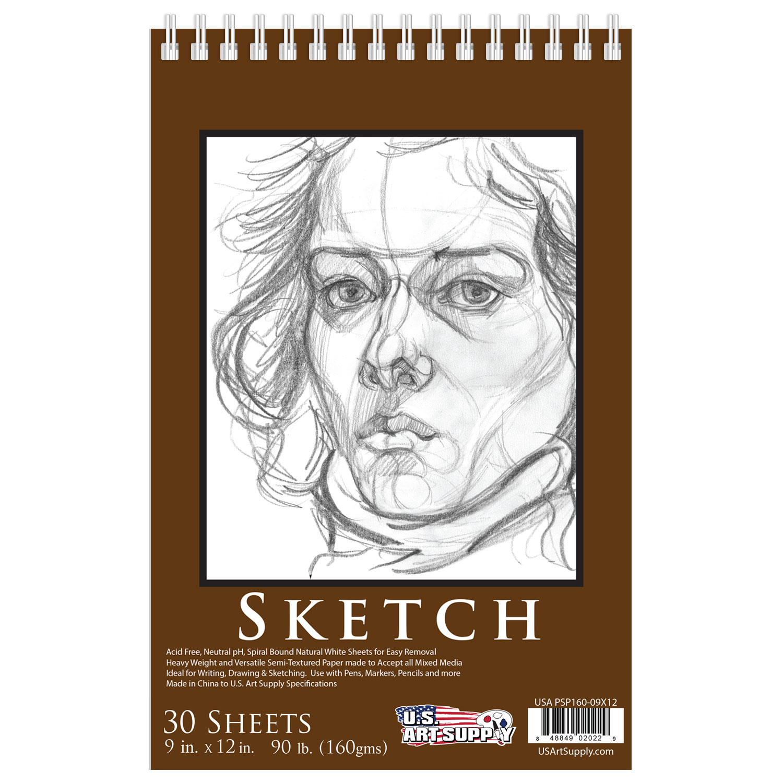 "9"" x 12"" Premium Heavy-Weight Paper Spiral Bound Sketch Pad, 90lbs 30-Sheets"