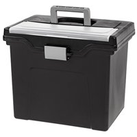 IRIS Letter Size Portable File Storage Box with Organizer Lid, Black