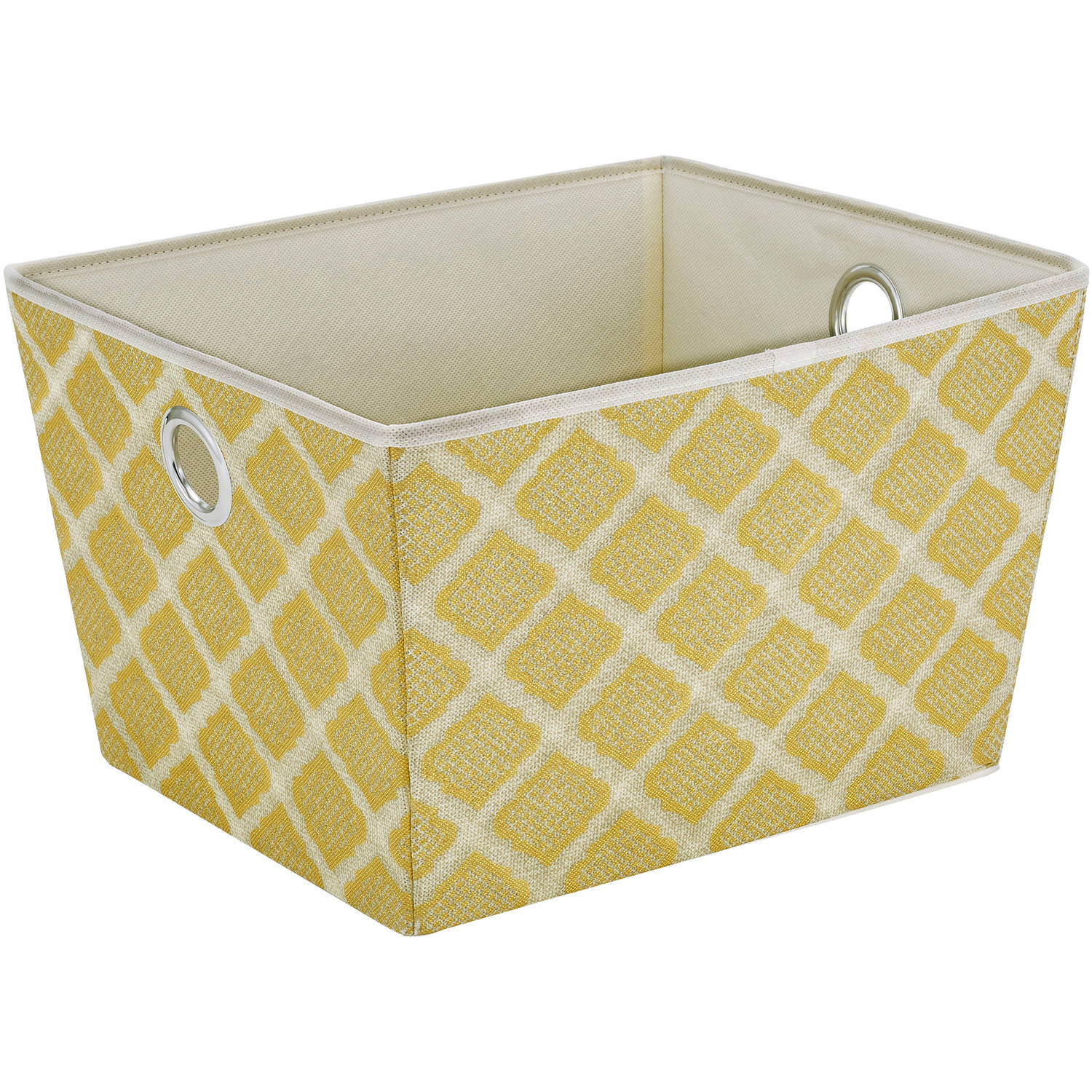HouseCandie ClosetCandie Large Grommet Storage Bin, Jasmine Gold