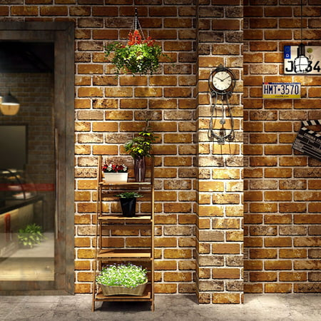 Zerone 3d Wallpaper Stone Brick Pattern Natural Embossed Waterproof Wall Paper Decor Home Tool