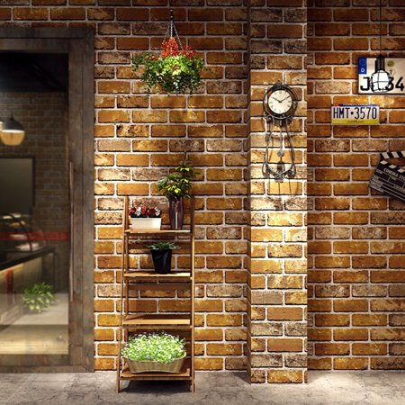 HERCHR 3D Wallpaper, Bedroom Mural Roll Retro Stone Brick Wall Background Textured Art 3D Wall Stickers Panels Effect Brick Stone Wallpaper Waterproof for Bedroom Living Room TV Background Home Decor (Wallpapers Halloween 3d Gratis)