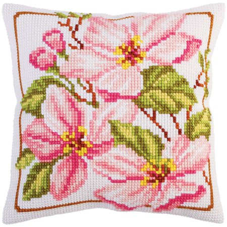 Magnolia Needlepoint Pillow (Collection D'Art Pink Magnolia Pillow Cover Needlepoint Kit )