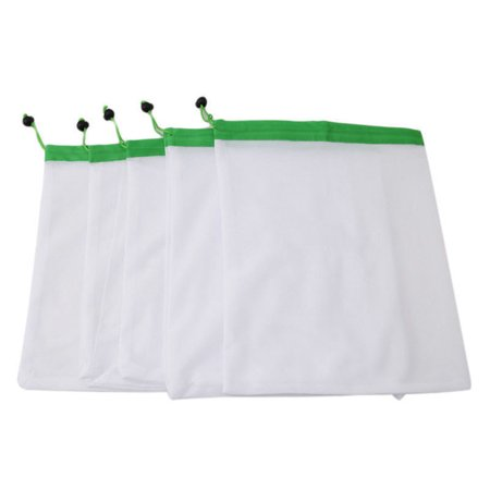 5 Pcs Portable Reusable Beam Pocket Drawstring Breathable Mesh Vegetable Fruit Toys Storage Pouch Color:green