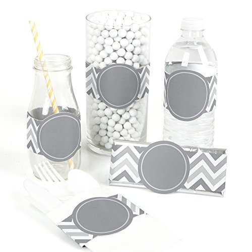 Chevron Gray - DIY Party Wrapper Favors - Set of 15