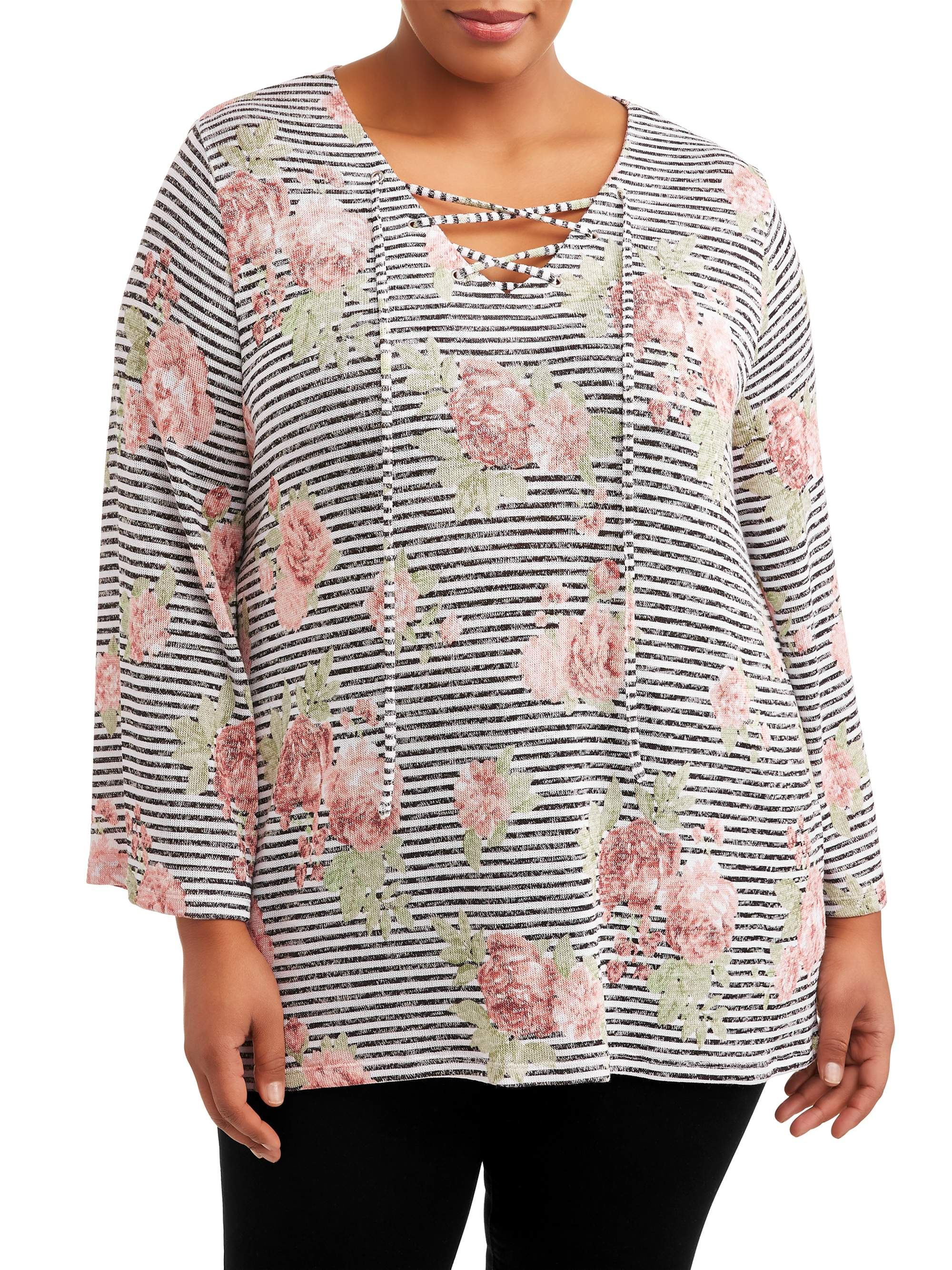 Women's Plus Size Lace Up Wide Sleeve Top