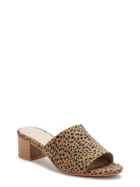 Melrose Ave Vegan Suede Cheetah Block Heel Slide Sandals (Women's)