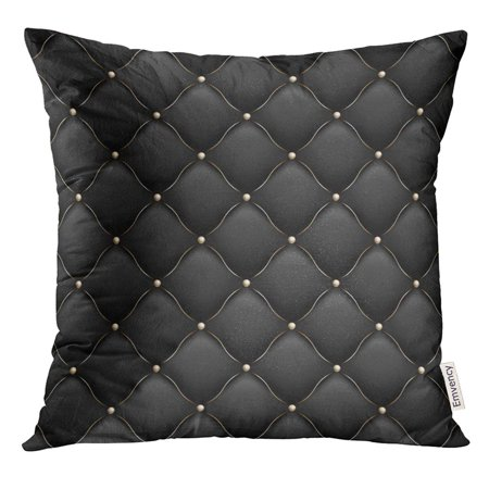 STOAG Black VIP Upholstery Gloss Quilted Pattern True Luxury with Gold Thread and Also Includes 10 Abstract Throw Pillowcase Cushion Case Cover 16x16 inch ()