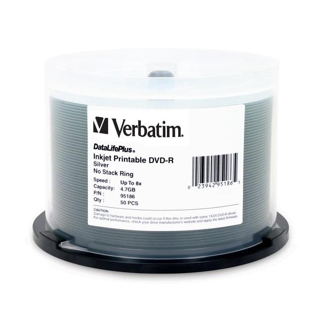 Verbatim DataLifePlus - 50 x DVD-R 4.7 GB 8x - silver - ink jet printable surface - spindle - storage media