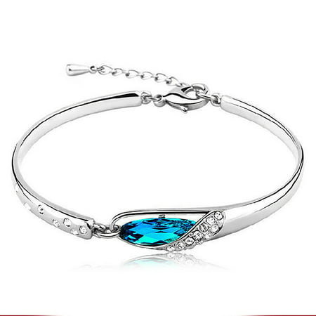 - Women Fashion 925 Sterling Silver Bracelet Crystal Bangle Rhinestone Wrist Chain Ladies Jewelry