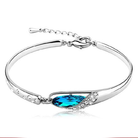 Women Fashion 925 Sterling Silver Bracelet Crystal Bangle Rhinestone Wrist Chain Ladies