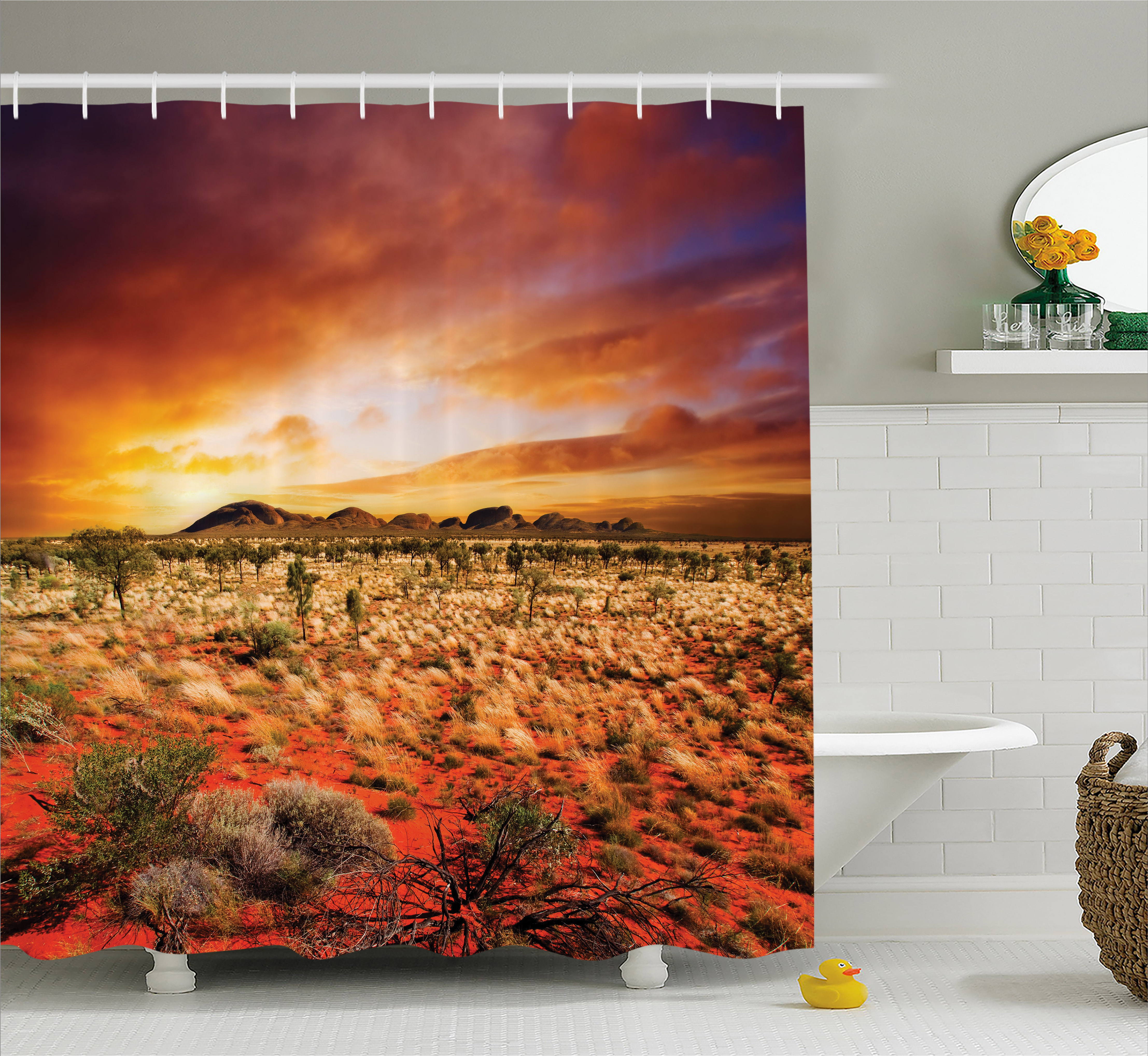 Desert Shower Curtain, Sunset Over Central Australian Landscape Dreamy  Dramatic Sky Scenic Nature, Fabric Bathroom Set With Hooks, 69W X 75L  Inches ...