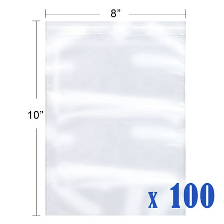 100 Self Adhesive Reclosable Clear Plastic Bags Resealable OPP Bags, 8
