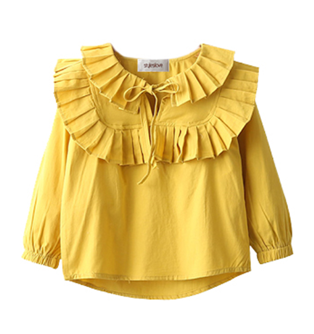 stylesilove Kid Girls Long Sleeve Ruffle Trim Tied Neck Cotton Shirt(140/7-8 Years)
