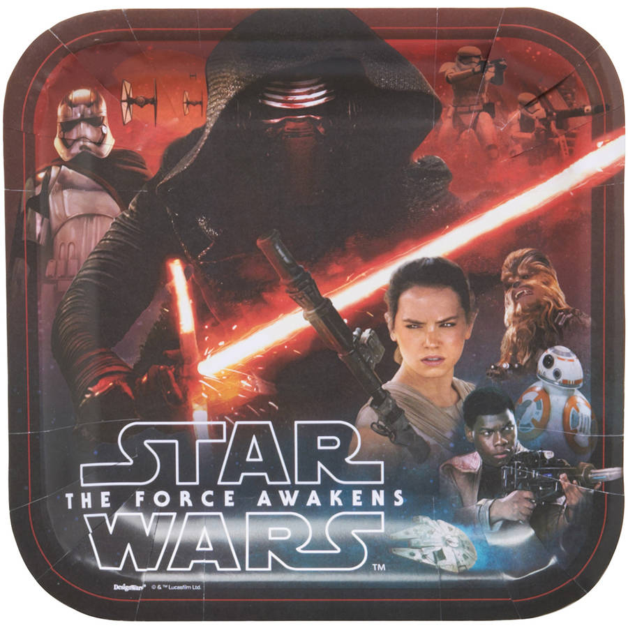 "Star Wars Episode VII 9"" Square Plate, 8 Count, Party Supplies"