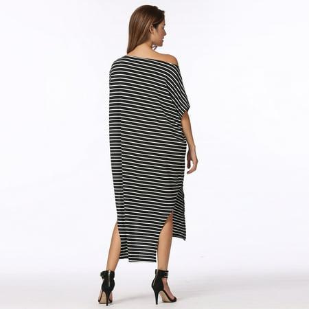 Nouvelles femmes lâche longue robe rayée manches chauve-souris off-épaule fente asymétrique Maxi Plus robe de taille - image 2 of 7