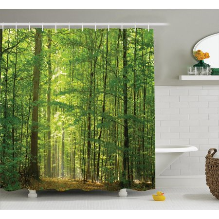 Woodland Decor Shower Curtain Set Deciduous Forest In Summertime Foliage Sunlight Holidays Scenics Bathroom Accessories 69w X 70l Inches