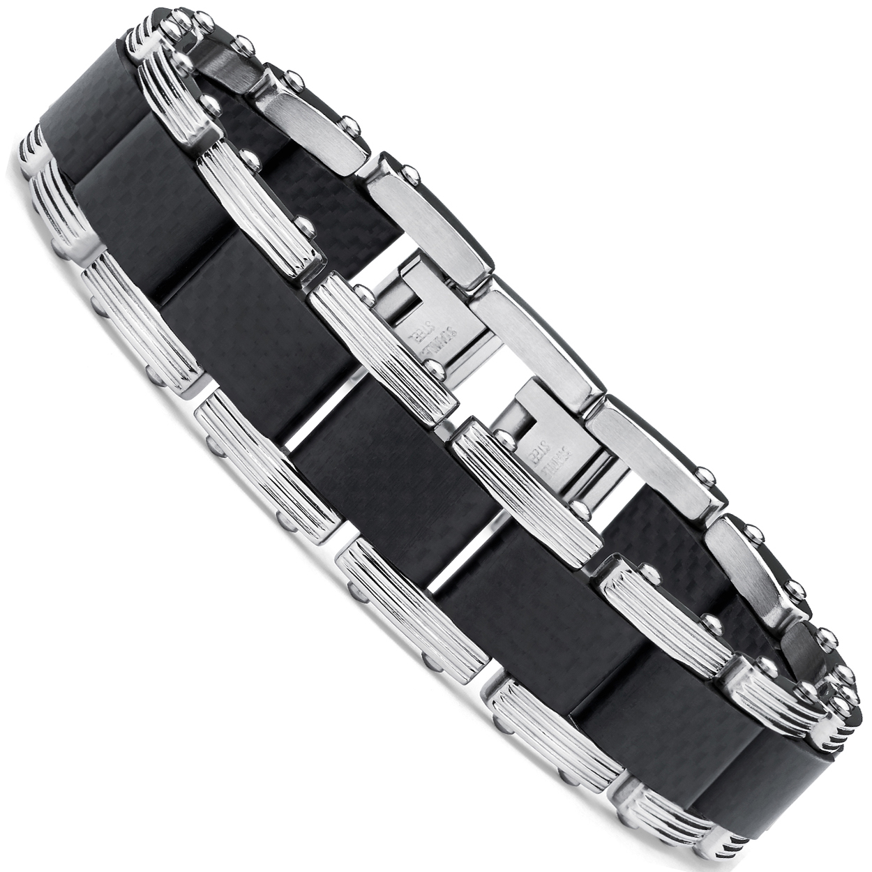 "Men's Two Tone Black Stainless Steel Bracelet with Pure Solid Carbon Fiber links 8.25"" Can be sized down"