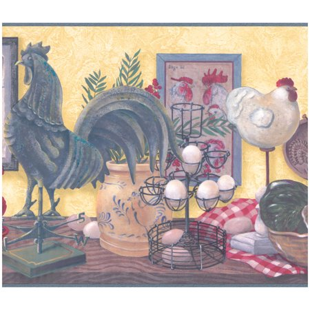 Prepasted Wall Border - Rooster Hen Eggs on Table Vintage Wallpaper Border Retro Design, Roll 15 ft X 10 in