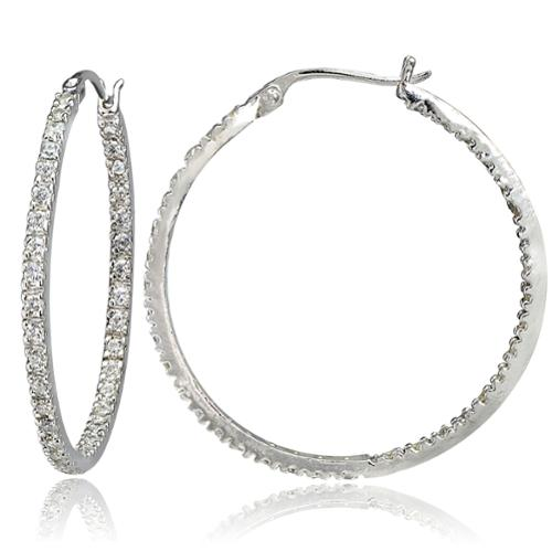 ICZ Stonez Silver Inside-Out Cubic Zirconia 2mm Round Hoop Earrings, 30mm 18k Gold over Silver